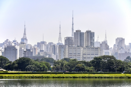 Sao Paulo  Brazil  Lake and park in foreground, skyscrapers with antennas