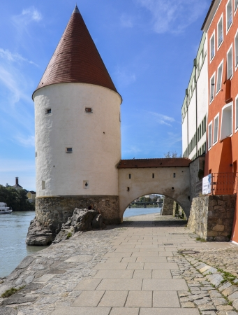 Schaubling tower in Passau  Germany, on the Danube river photo
