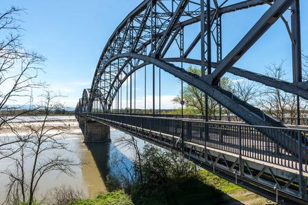 po: Iron bridge over Po river, Casei Gerola  Italy