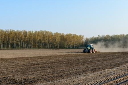 harrowing: Tractor harrowing rice field, Zerbolo, Lomellina  Italy