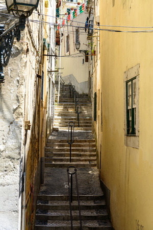 handrails: Flight of steps with handrails in Alfama, Lisbon  Portugal