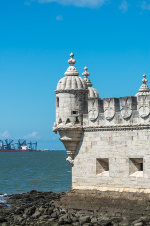 tagus: View of the Belem Tower on Tagus river, Lisbon  Portugal  Stock Photo