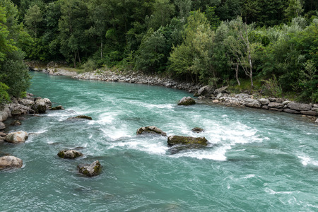 dora: Dora Baltea river near Issogne, Ayas Valley  Italy  Stock Photo