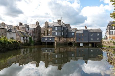 Pont de Rohan, house-lined bridge over the Elorn river in Landerneau, Finistere department of Brittany (France)