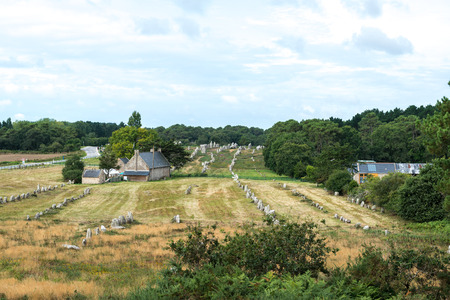 alignments: Stone alignments at the megalithic site around Carnac, Finistere department of Brittany (France) Stock Photo