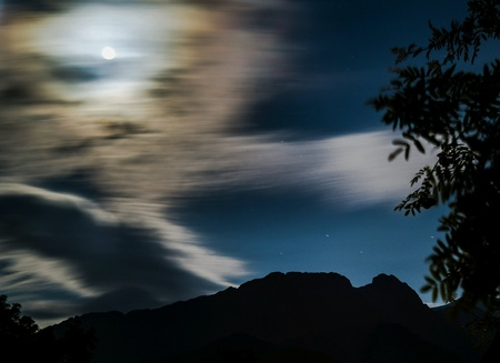 giewont: Full moon over the mountain Giewont Poland Stock Photo