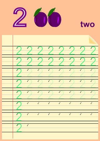 Young children learn to write numbers, Homework for kids Illustration