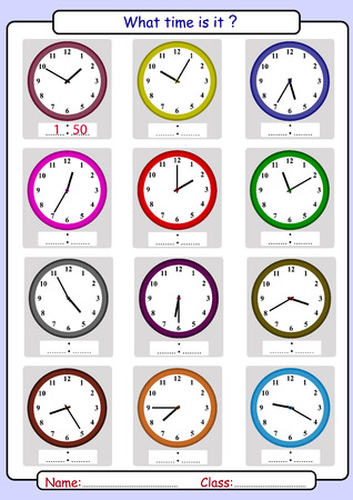 Telling the time, draw the time
