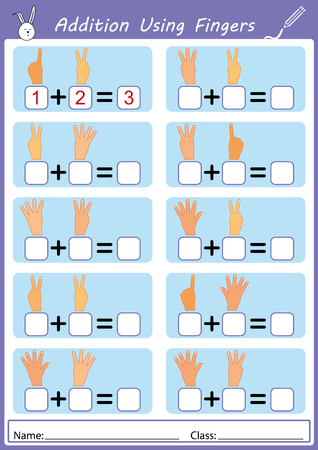 addition using fingers, math worksheet