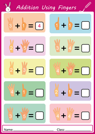 Addition using fingers, math worksheet for kids