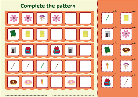Complete the pattern, Worksheet for kids Çizim