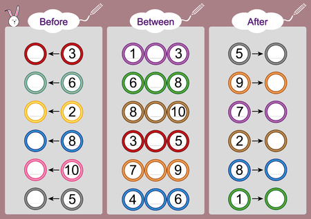 What comes Before-Between and After, math worksheets for kids
