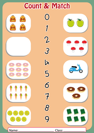 match the numbers to the objects, worksheet for preschool Çizim