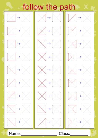 Visual Perceptual Worksheets, follow the path, copy pattern