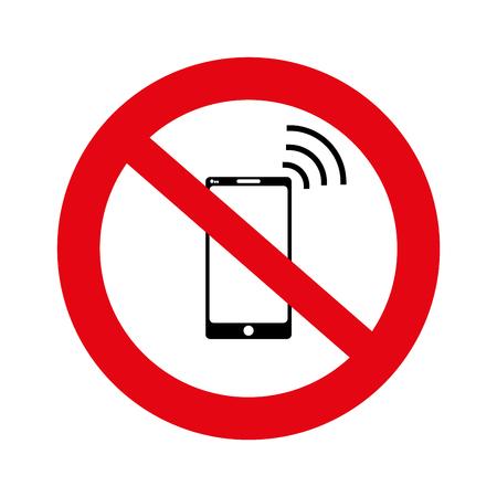 ないセル、ない携帯電話サイン バナー白背景、イラスト、ベクトルで兆候なし電話