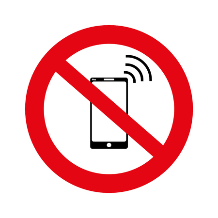 No cell, No mobile phone sign banner, No phone sign on white background, illustration, vector,