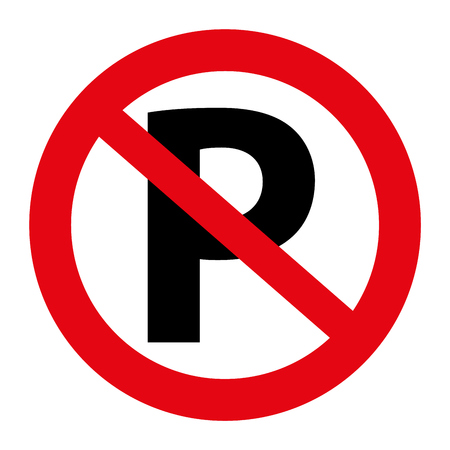 Illustratie Verkeer geen grafisch parkeren teken geïsoleerd op wit