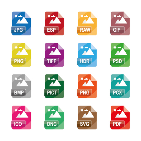 image file formats, file extensions, Flat vector icons, Collection of 16 colorful image file icons, isolated on white background.