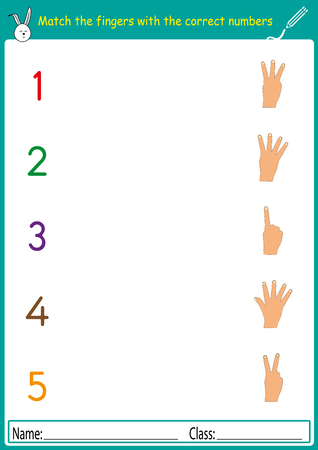 Match the fingers with the correct numbers, math worksheet for kids.