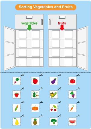 Sorting Fruits and Vegetables inrefrigerator, worksheet for kindergarten, preschool