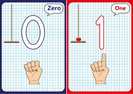 Learning the numbers 0-10, Flash Cards, educational preschool activities, worksheets for kids Illustration