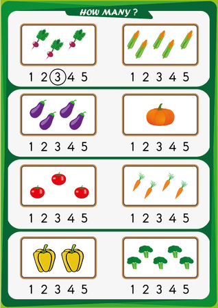worksheet for preschool children, Count the number of objects, Learn the numbers 1, 2, 3 4 5 Иллюстрация