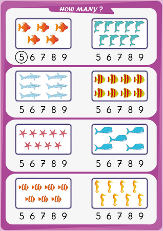 Worksheet for educational purposes. Count the number of objects, Learn the numbers concept for Elementary-Age.