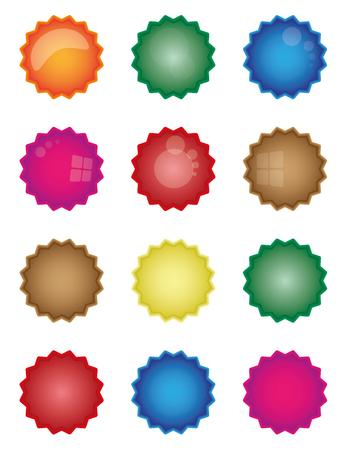 Colorful starburst badge shapes