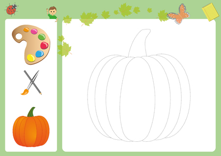 Follow the lines with your pencil and paint, pencil control. Working pages for children, preschool, worksheet for kids.