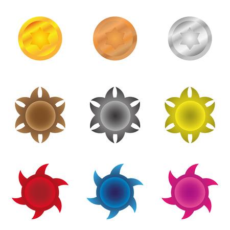 Colorful starburst badge shapes, starburst seals.