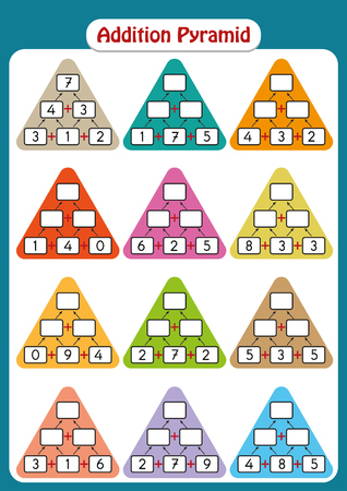 Maths Pyramids for Mental Maths Practice, complete the missing numbers, math worksheet for kindergarten students