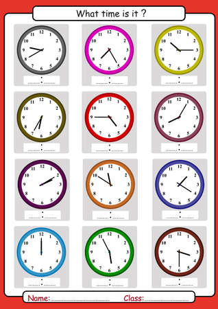 What time is it, What is the time, draw the time, Learning to Tell Time, math worksheet Vettoriali