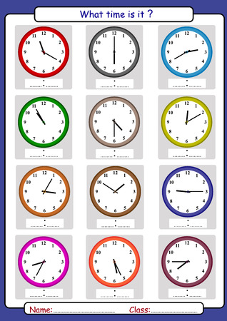 What time is it, What is the time, draw the time, Learning to Tell Time Vector illustration. Vettoriali