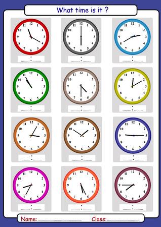 Quelle heure est-il, quelle est l'heure, dessiner le temps, apprendre à dire l'heure illustration vectorielle.