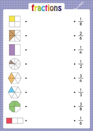 combinar formas con fracciones correctas, hoja de cálculo matemático para niños