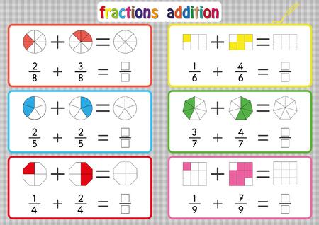 Addition de fractions, feuilles de calcul de fractions imprimables pour les enfants, problèmes d'ajout de fraction. Ajoutez deux fractions et écrivez la réponse dans la case.