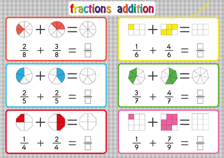 Fractions Addition, Printable Fractions Worksheets for kids , fraction addition problems. Add two fractions and write the answer in the box.
