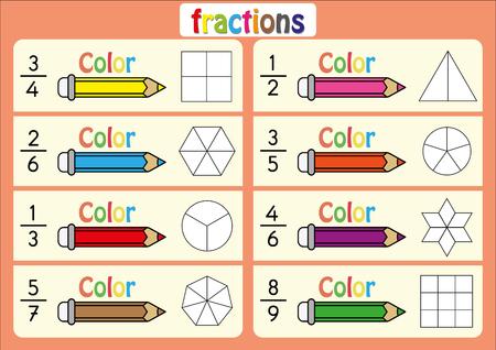 educativo, colorea las partes de la forma que representan cada fracción, hoja de cálculo matemático Ilustración de vector