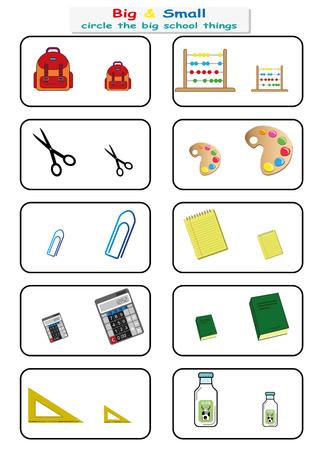 Kreisen Sie die großen Schulsachen ein. Finden Sie gegenüber ein großes oder kleines Arbeitsblatt für Kindergartenkinder. Seite