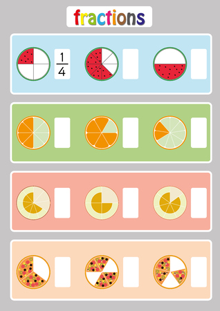 Writing Fractions worksheet, Fraction Review, fraction practice, educational, Equivalent Fractions, math worksheet for kids Stock Illustratie