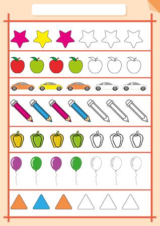 color and Complete the next pattern, Worksheet for children Иллюстрация