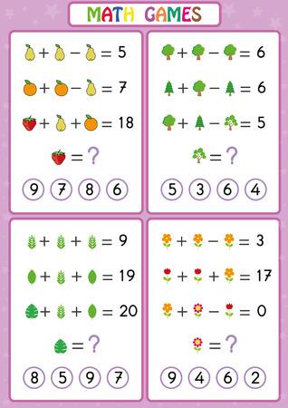 Matematyka gra edukacyjna dla dzieci, zabawne arkusze dla dzieci, dzieci uczą się rozwiązywać problemy. Ilustracje wektorowe