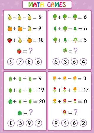 Mathematics educational game for kids, fun worksheets for children, Kids are learning to solve problems. 向量圖像