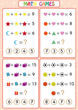 Mathematics educational game for kids, fun worksheets for children, Kids are learning to solve problems. 矢量图像