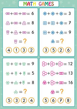 Matematyka gra edukacyjna dla dzieci, zabawne arkusze dla dzieci, dzieci uczą się rozwiązywać problemy.