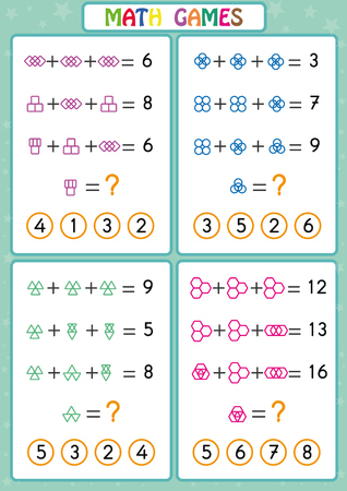 Mathematics educational game for kids, fun worksheets for children, Kids are learning to solve problems. Vettoriali