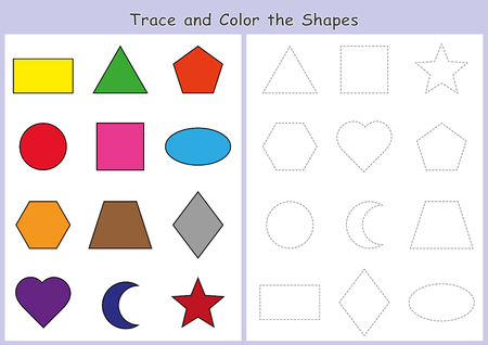 trace and color the geometric shapes, worksheet for kids, Fine Motor Skills Activity Zdjęcie Seryjne