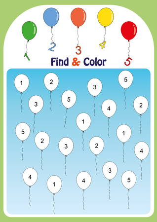 find and color numbers one, two, three, four, five, math worksheet for kids