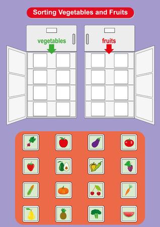 Obst und Gemüse in Kühlschränken sortieren, Arbeitsblatt für Kindergartenkinder, Obst und Gemüse lernen Vektorgrafik