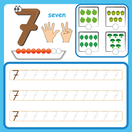 Number cards, Counting and writing numbers, Learning numbers, Numbers tracing worksheet for kindergarten